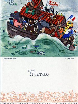 Menu pour enfant du paquebot Liberté (1950) illustré par Édouard Collin.