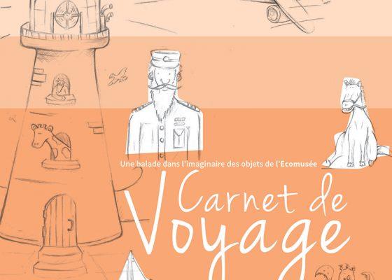 """Couverture du livret """"Carnet de voyage"""" distribué pour les enfants à l'Écomusée de Saint-Nazaire."""