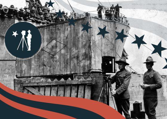 Deux soldats américains appartenant au Signal Corps en plein reportage sur le débarquement des troupes à Saint-Nazaire pendant la Première Guerre mondiale.