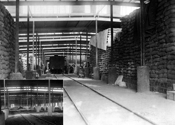 Diptyque représentant l'intérieur vide et plein d'un entrepôt américain à Montoir-de-Bretagne.