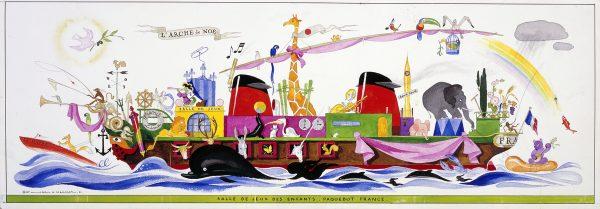 Étude préparatoire de L'Arche de Noé pour la salle de jeux enfants de la classe touriste du paquebot France (1962). Arts décoratifs.