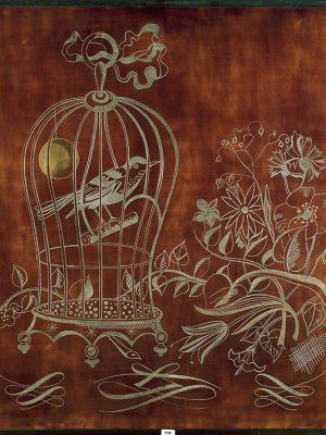 Étude pour une œuvre décorative en laque pour une cabine première classe du paquebot Normandie (1935) représentant un oiseau en cage.