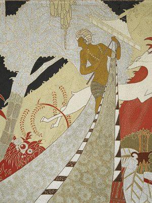 Étude pour une œuvre décorative en laque d'un appartement de grand luxe du paquebot L'Atlantique (1931) représentant un homme et une antilope dans une jungle.
