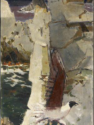 Œuvre décorative peinte de la salle à manger du carré des officiers de pont du paquebot France (1962) représentant une mouette.