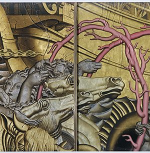 Ensemble de quatre panneaux de verre qui décorait le grand salon du paquebot Normandie représentant L'Enlèvement d'Europe par Jean Dupas.