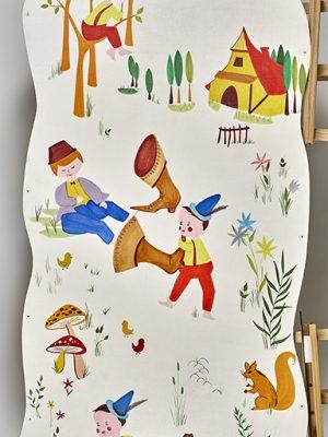 Panneau décoratif provenant de la nursery du paquebot France (1962) évoquant le conte du Petit Poucet.