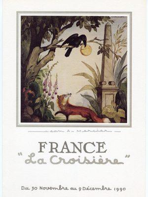 """Réédition d'un menu de 1962 illustré par Jean-Adrien Mercier sur le thème de la fable """" Le corbeau et le renard"""" de La Fontaine à l'occasion de la croisière France de 1990 sur le paquebot Norway."""