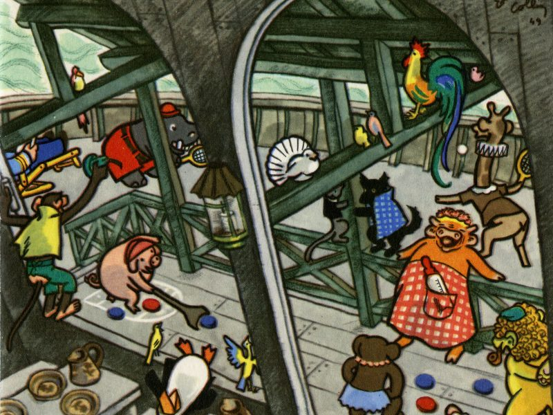 Illustration de menu représentant des animaux en train de jouer sur le pont d'un navire.