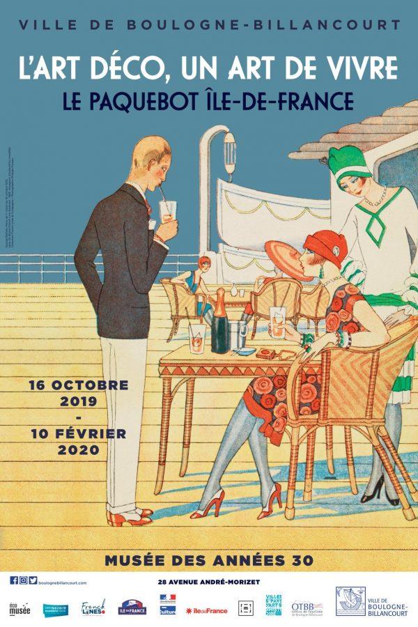 """Affiche de l'exposition """"L'Art déco, un art de vivre : le paquebot Ile-de-France"""" représentant un dessin de deux femmes et un homme sur le pont du paquebot."""