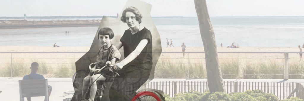 Montage photographique représentant une femme à vélo avec son enfant dans les années 1930 et l'actuel front de mer.
