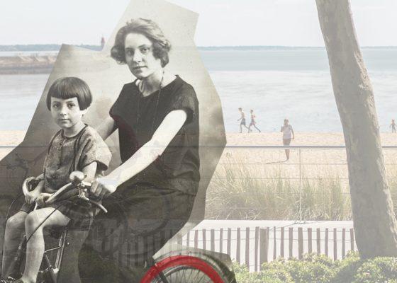 Montage photographique représentant une femme à vélo avec son enfant dans les années 1930 et l'actuel front de mer. Couverture de la Saison patrimoine.
