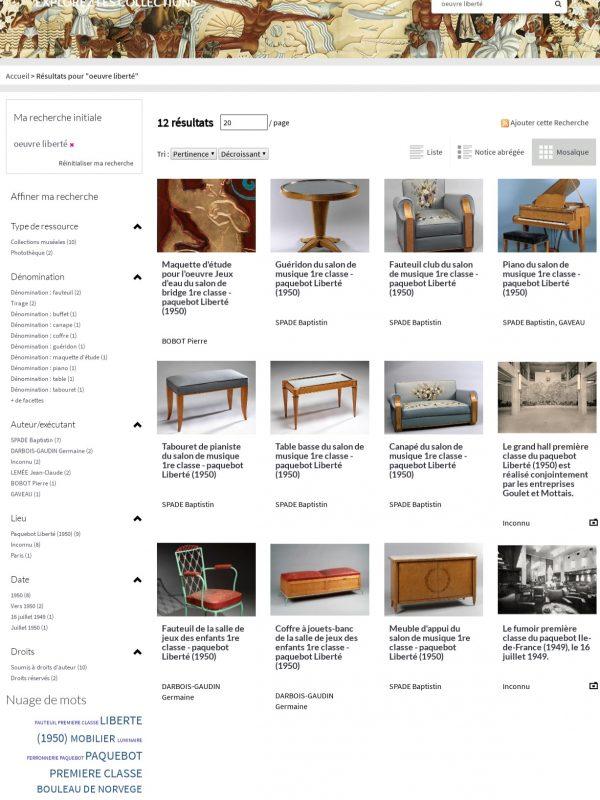 Page de recherche du portail des collections de l'Écomusée de Saint-Nazaire.