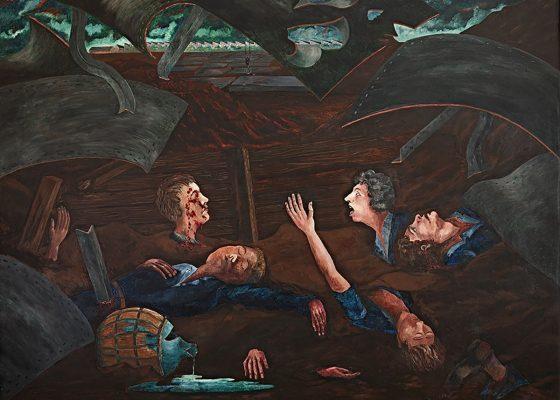 Tableau représentant les apprentis de Penhoët ensevelis sous les décombres du bombardement.