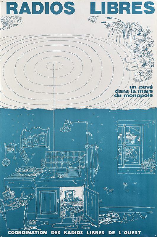 Affiche représentant une cuisine dans la partie basse et une mare avec des cercles concentriques représentant des ondes dans la partie haute.