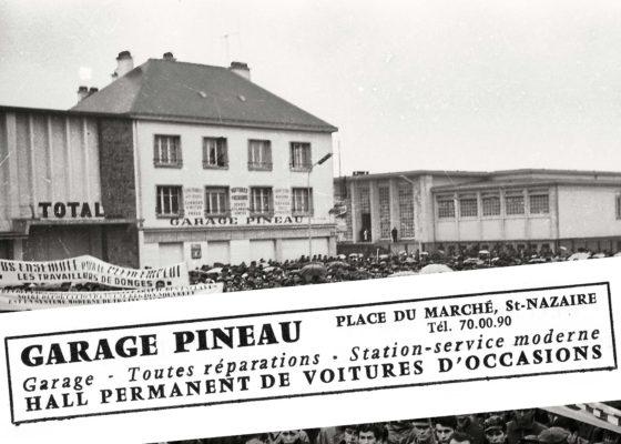 Garage Pineau dans le centre-ville. Au fond, le tribunal de Saint-Nazaire.