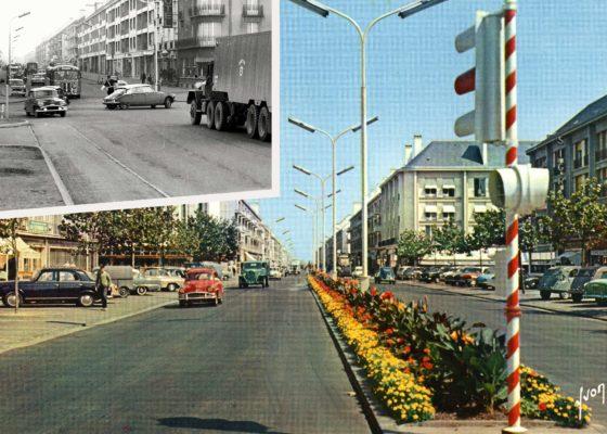 Montage de deux images, l'une montrant un feu tricolore et des voitures roulant sur l'avenue de la République, l'autre montrant le carrefour d'entrée de ville de Saint-Nazaire avec un policier faisant la circulation.