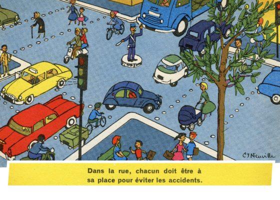 Illustration d'un ouvrage de prévention routière pour les écoliers représentant un carrefour avec des voitures, des piétons et des cyclistes.