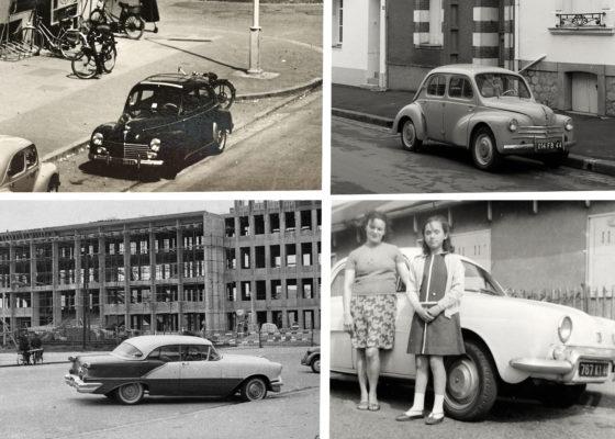Voitures des années 1950 dans les rues de Saint-Nazaire.