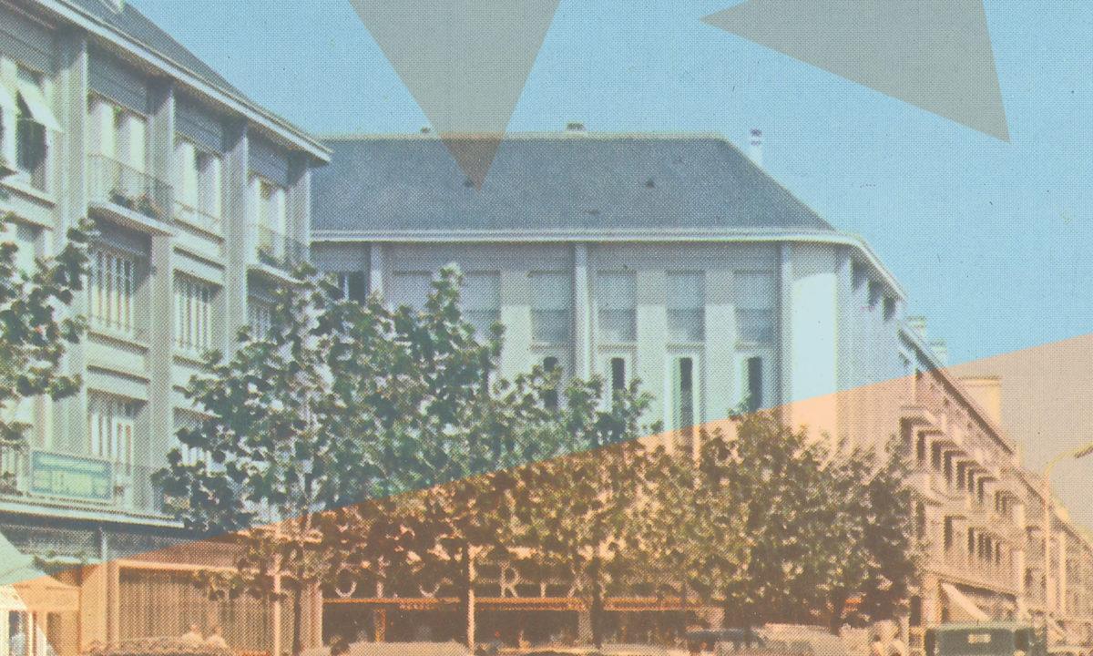 """Affiche de l'exposition """"Nouvelles mobilités, reconstruire la ville de Saint-Nazaire dans les années 1950""""."""