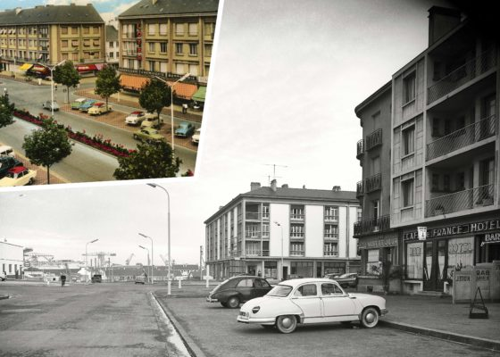 Deux voitures des années 1950 stationnées dans les rues de Saint-Nazaire.