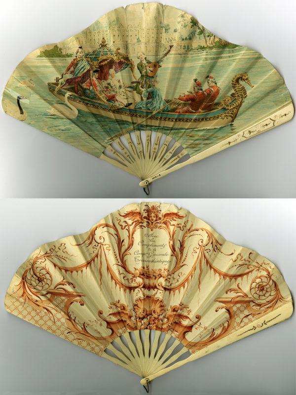 Vues recto et verso d'un éventail publicitaire représentant le couple impérial russe dans une barque en forme de cygne.