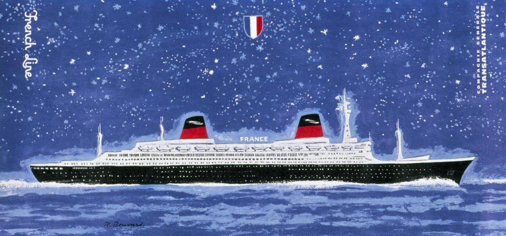 Peinture du paquebot France en mer la nuit