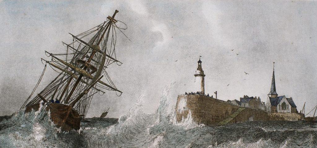 Lithographie représentant un voilier en pleine tempête devant la jetée du vieux môle.