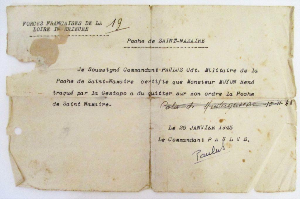 Courrier dactylographié d'un commandant F.F.I. qui donne l'autorisation à un résistant de fuir la Poche.