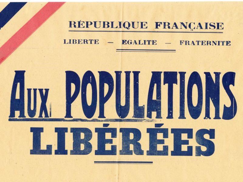 """Détail d'une affiche éditée pour la libération de la poche de Saint-Nazaire dont le titre est """"Aux populations libérées"""""""