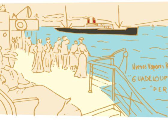 Dessin représentant des passagers sur le pont d'un paquebot vers 1900 regardant passer un autre paquebot.