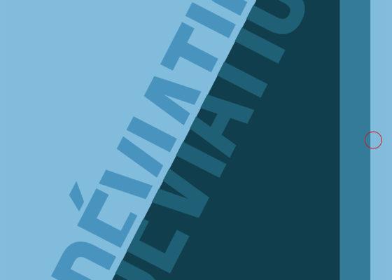"""Couverture du magazine """"Déviation"""" représentant un triangle bleu foncé sur un fond bleu clair accompagné du titre et du n°6."""
