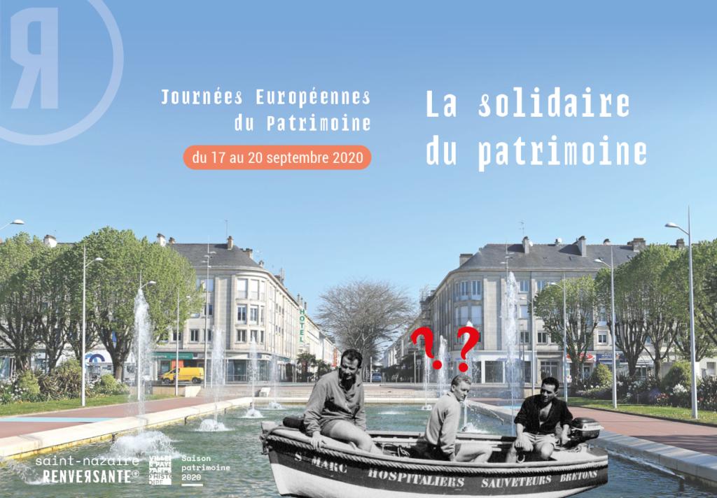 Affiche des Journées Européennes du Patrimoine à Saint-Nazaire représentant trois sauveteurs dans une barque au milieu du bassin de la place de l'hôtel de ville.