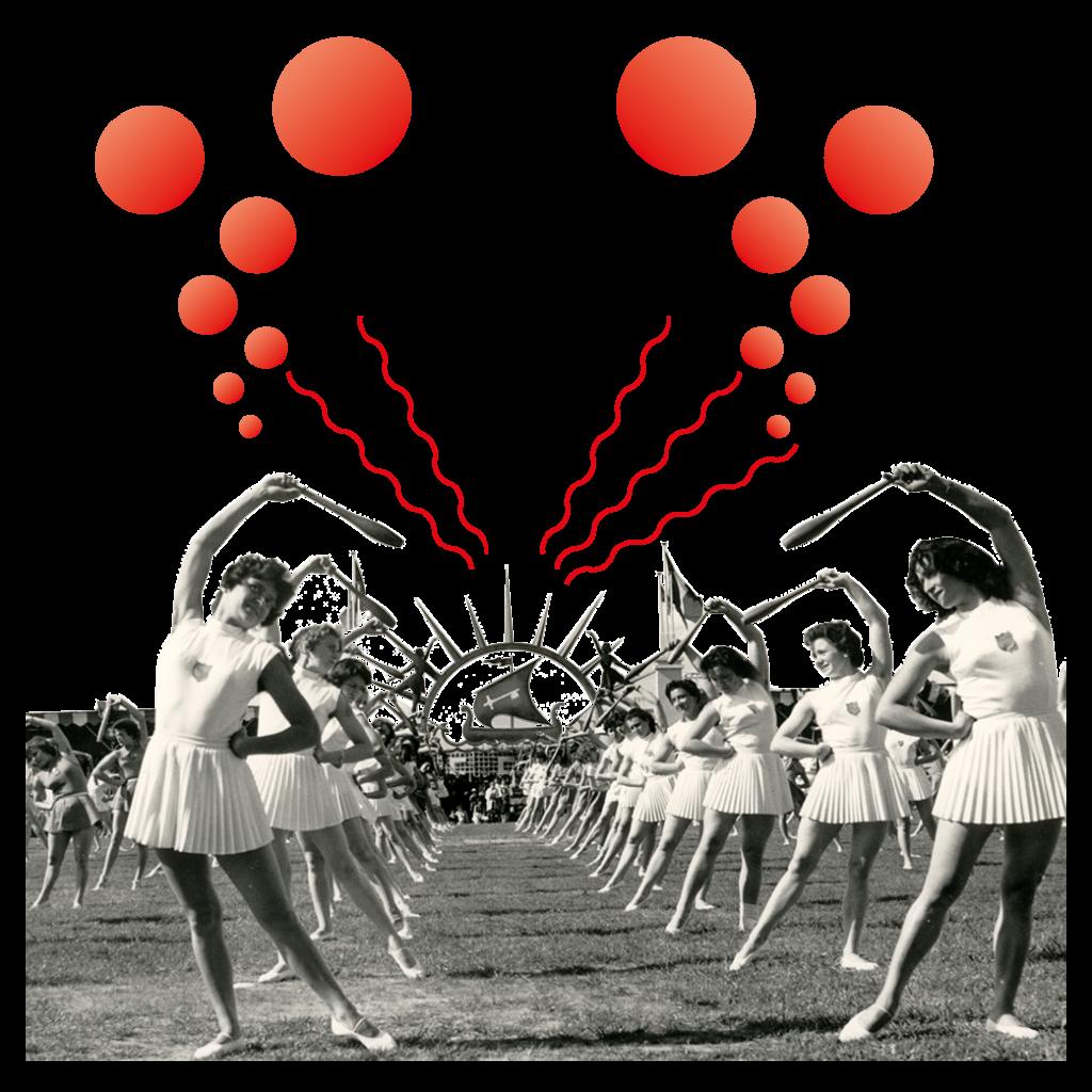 Photographie en noir et blanc montrant de très nombreuses gymnastes prenant une pose en forme d'arc de cercle, une quille à la main dans un stade. Le Plessis est un des sujets mis à l'honneur pour les Journées du Patrimoine 2020.