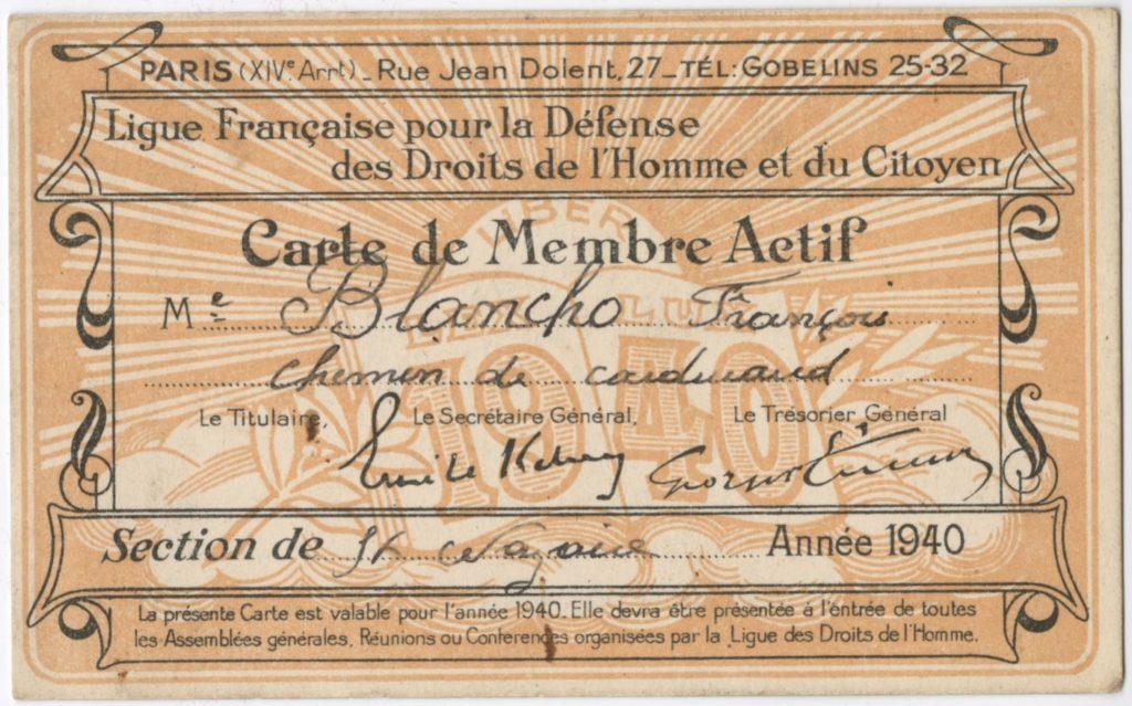 Carte de membre actif de la Ligue Française pour la Défense des Droits de l'Homme et du Citoyen au nom de François Blancho en 1940, l'un des objets étudié par Jeunes en ville sur la solidarité.