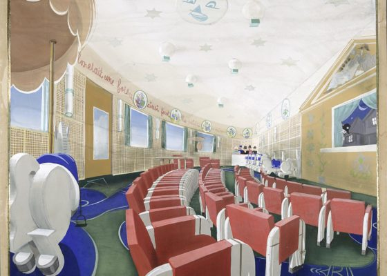 Projet de décor et de mobilier pour la salle de jeux des enfants de première classe du paquebot Normandie (1935).