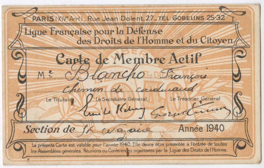 Carte de membre sur fond jaune de la ligue des droits de l'homme dont l'identité du porteur est écrite au centre : François Blancho