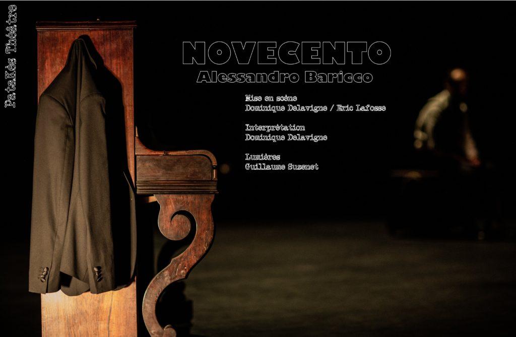 Affiche de spectacle représentant une veste noire accrochée à un piano