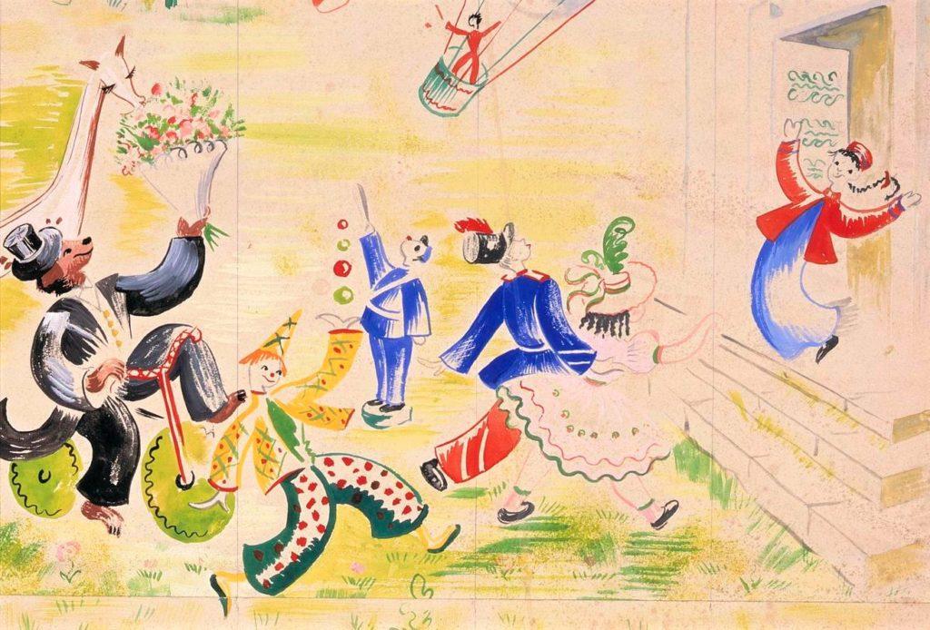Détail d'une illustration représentant des jouets pour enfants se dirigeant vers un Guignol les saluant devant une porte d'entrée. Dessin réalisé par Germaine Darbois-Gaudin pour la décoration du paquebot Liberté et choisit pour la sélection d'objets de la Nuit des Musées.