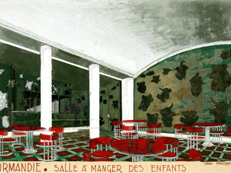 Gouache représentant une salle à manger pour enfants avec des meubles rouges et des murs verts recouverts de Babar et autres éléphants pour le paquebot Normandie.