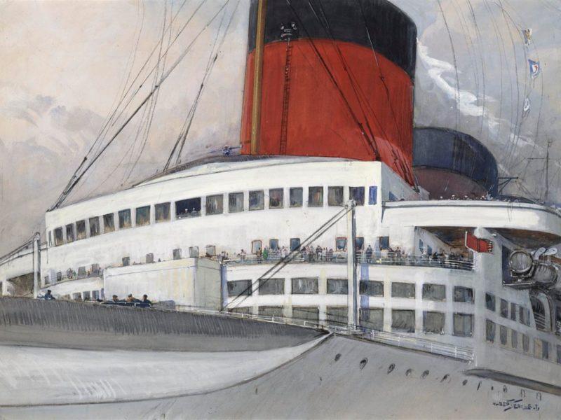 Peinture des ponts avant du paquebot Normandie avec les deux premières cheminées rouges.