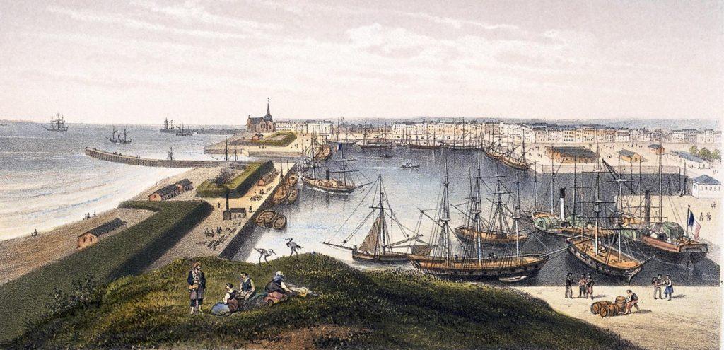 Lithographie en couleur représentant une vue du bassin de Saint-Nazaire avec de nombreux voiliers et navires à aubes vers 1870.