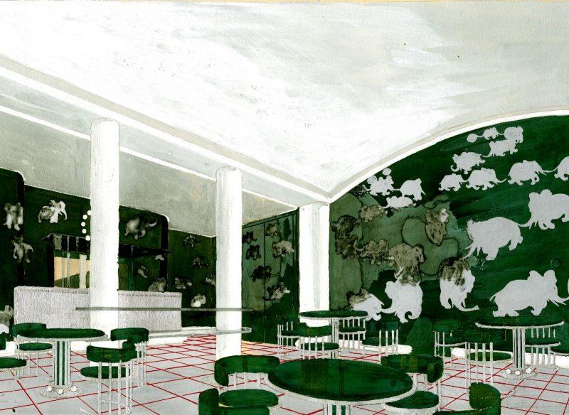 Gouache représentant une salle à manger pour enfants avec des meubles et des murs verts recouverts de Babar et autres éléphants pour le paquebot Normandie (1935).