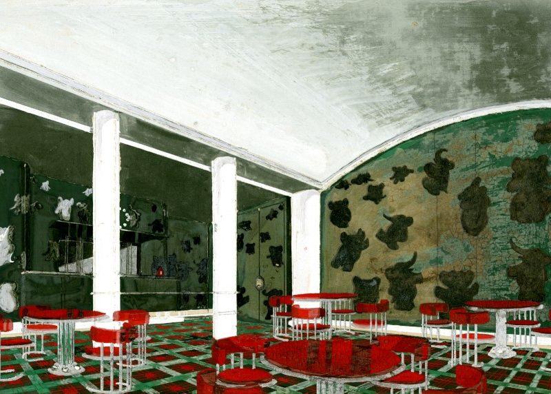 Gouache représentant une salle à manger pour enfants avec des meubles rouges et des murs verts recouverts de Babar et autres éléphants pour le paquebot Normandie (1935).