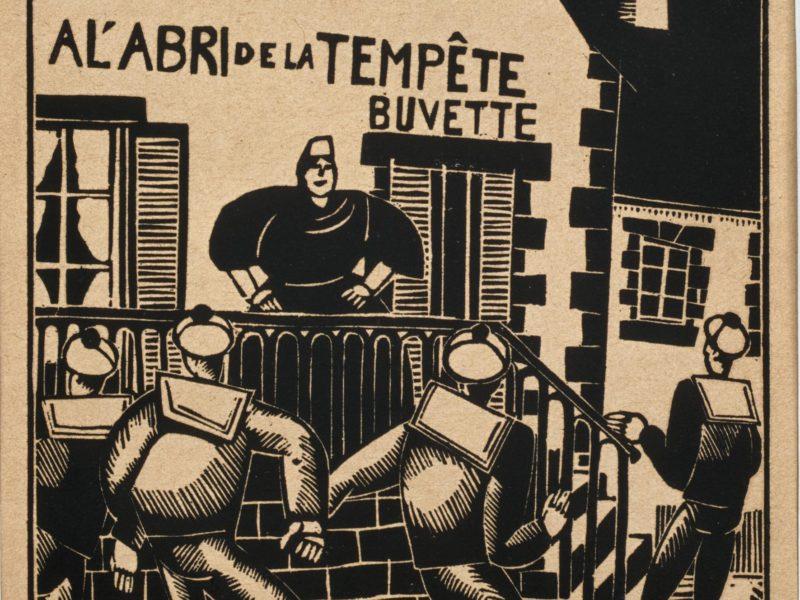 """Gravure sur bois représentant quatre marins devant le café """"À l'abri de la tempête"""""""