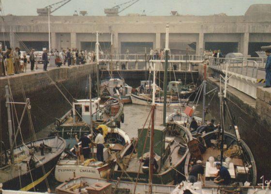 Carte postale couleur représentant une foule assistant à l'éclusage des navires de pêche dans l'entrée Est.