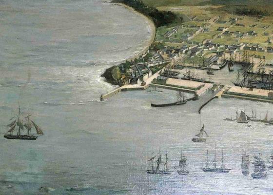 Huile sur toile représentant le projet d'extension du port de Saint-Nazaire.