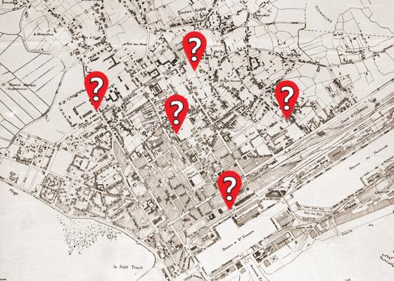 Plan ancien de la ville de Saint-Nazaire sur lequel sont ajoutés 5 points d'interrogation.