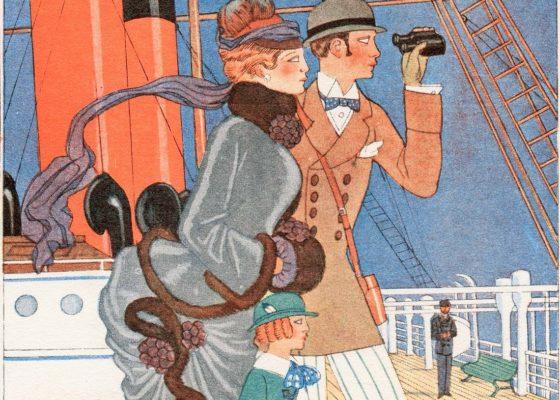 Détail d'un menu représentant un couple et un enfant de profil sur le pont d'un paquebot et regardant dans une paire de jumelles.